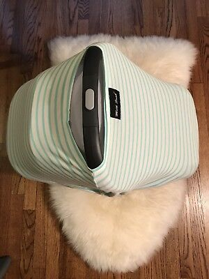 Milk Snob Infant Car Seat Cover Nursing Cover in Aqua/White Stripe