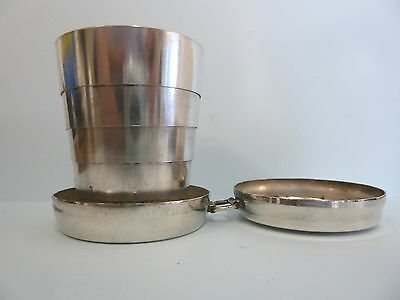 ASPREY Cased COLLAPSIBLE Hunting Drinking Cup. Silver Plated.