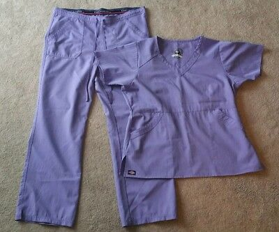 USED Dickies Lavender Solid Scrubs Set With Large Top Large Bottoms Pants Nurse