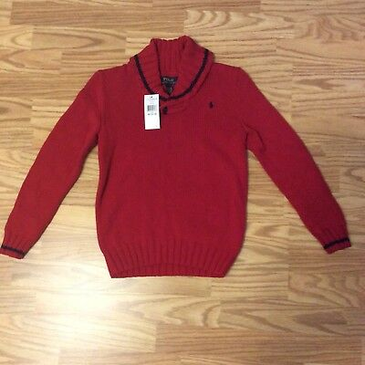 Polo Ralph Lauren Boys Shawl Collar Sweater M (10-12) New With Tags