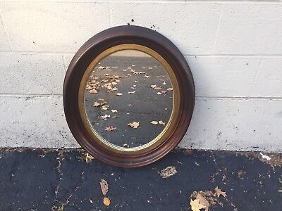 Large BEAUTIFUL ANTIQUE VICTORIAN WOOD OVAL Wall MIRROR GILT 0634