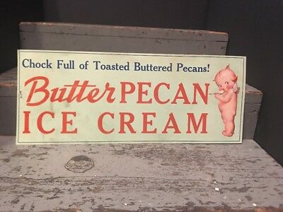 1940s HENDLERS ICE CREAM Butter Pecan vintage unused paper store sign Kewpie