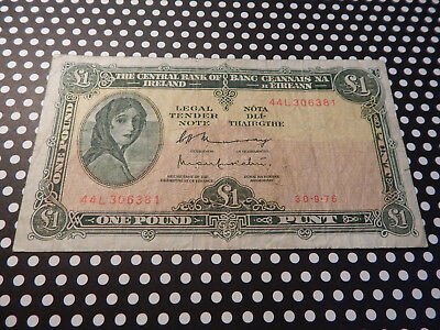 Ireland Currency / 1Pound Note /  Lady Lavery / Fine