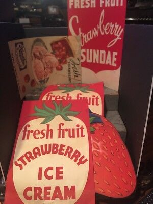 1940 HENDLERS ICE CREAM Strawberry vintage unused paper store sign Set