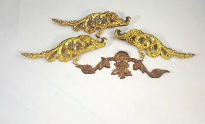 Lot of 4 Vintage Ornate Drawer Pulls Gold Tone Heavy 3 Matching