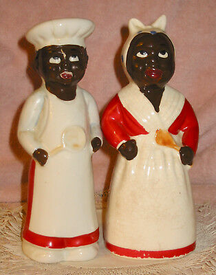 "Vintage Large 8"" Aunt Jemima & Chef Black Americana Salt & Pepper Range Shakers"