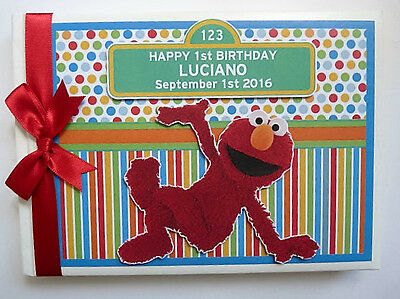 Personalised Sesame Street Elmo First/1St Birthday Guest Book