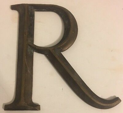 "Antique Large Heavy Bronze Stylized 3-D Letter ""R"" Sign Architectural Salvage"