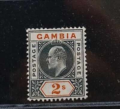 GAMBIA 1905 KE VII 2s SG 68a with dented frame MLH rare