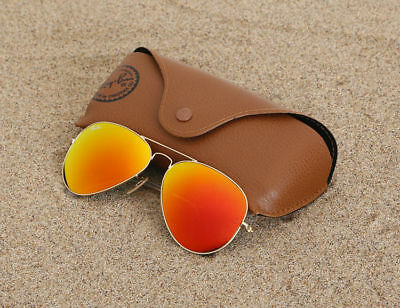 Ray Ban Orange Mirrored Aviator Sunglasses RB3025 Matte Gold 112/69 58mm