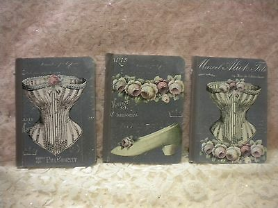 Shabby Chic Small Altered Journals Vintage Paris / French Fashion / Corset (3)