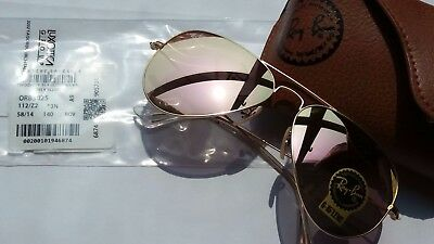 Authentic Ray Ban Pink Mirrored Aviator Sunglasses RB3025 112/z2 58mm