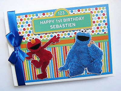 Personalised Sesame Street Elmo And Cookie Monster First/1St Birthday Guest Book