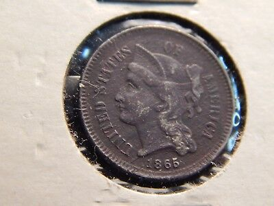 1865  nickle three-cent -- good coin..--------2a8