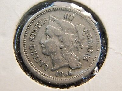 1865  nickle three-cent -- good coin..--------2a9