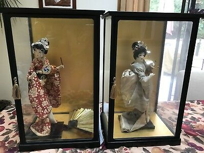 2 Vintage Japanese Oriental Geisha Doll in Display Case