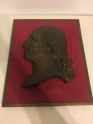 Vintage Heavy Cast Brass or Bronze Cameo Relief Bust of GEORGE WASHINGTON