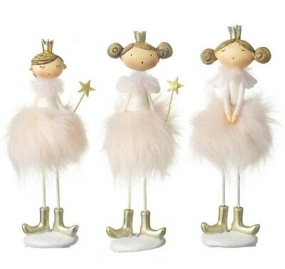 Christmas Pink Furry Dress Standing Fairy Princess Decoration By Heaven Sends