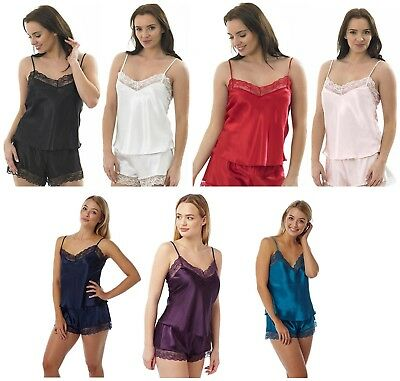 c00d096512110 Ladies Satin   Lace Camisole Top French Knickers Set 100% Polyester Size 10- 24