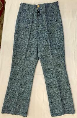 Vintage 1960s-1970s Women's Blue & White Flare Pants NOS New Old Stock 27 Waist