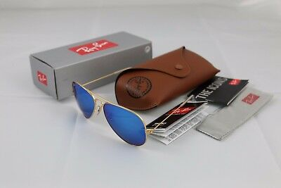 Authentic RAY BAN Blue Tinted AVIATOR Sunglasses RB3025 Gold FRAME
