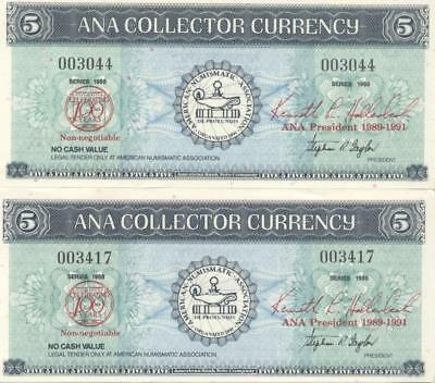 Two $5 ANA Collector Currency Bank Notes American Numismatic Association
