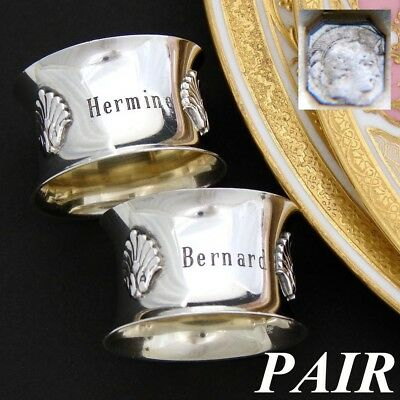 "PAIR Antique French Sterling Silver Napkin Rings, Seashell, ""Hermine""  ""Bernard"""
