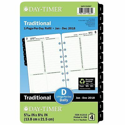 """Day-Timer Refill 2018, One Page Per Day, January 2018 - December 2018, 5-7/16"""" x"""