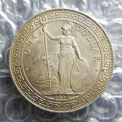 1930 China Hong Kong Great Britain Trade Dollar, AU, Nice Toning