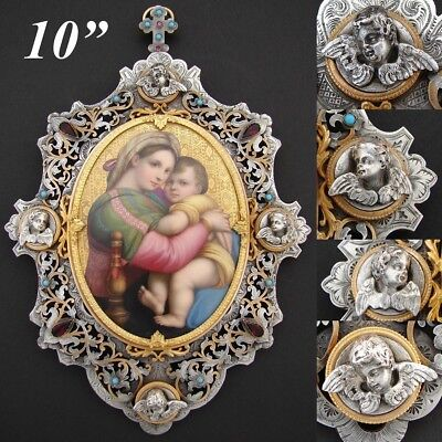 Museum Quality Antique French Madonna Painting, Gilt Silver Jeweled Bronze Frame