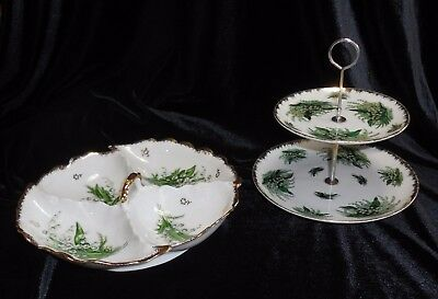 2 Vtg Lily of Valley Gold Trim Servers Napco 2 Tier 4 Section Dish Bowl Handle