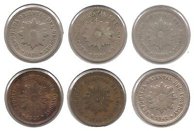 Uruguay Lot of 6 5 Centesimos Coins 1909, 1924, 1936, 1941, 1944 & 1951