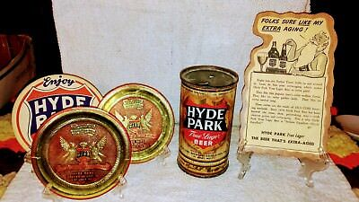 "Hyde Park 12oz. ""I.R.T.P."" Flat Top Beer Can & Coasters & Plack"