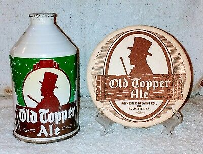 Old Topper Ale 12 oz. Crowntainer Cone Top Beer Can & Coaster