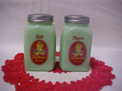 Jadeite Green Glass Salt & Pepper Set Advertising Sunbeam Bread