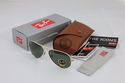 RAY BAN Dark Sunglasses with Gold Frame RB 3025 AVIATOR METAL 58mm