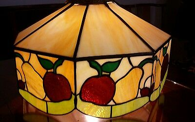 Large Vintage Stained Leaded GLASS Hanging Ceiling light Chandelier Apple