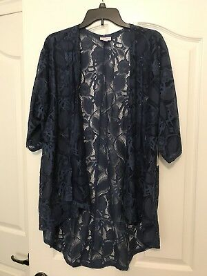 New NWT Elegant Blue Lace LuLaRoe Lindsay Kimono Jacket shawl Medium