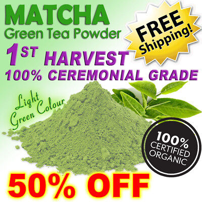 ORGANIC MATCHA GREEN TEA POWDER 100g ~ 200 SERVES ~ CEREMONIAL CERTIFIED ORGANIC