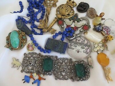 Vintage Antique - BITS AND PIECES LOT - Czech, Egyptian, Glass, Enamel, Art Deco