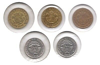 Costa Rica Lot of 5 5 Centimos Coins 1929, 1938, 1940, 1953 1958 in Higher Grade