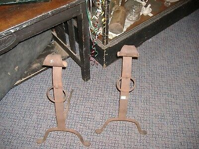 Wrought Iron  Andirons Farmhouse Chic Urban Rustic Vintage Antique