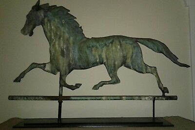 "Original circa 1900 Antique Copper Horse Weathervane 30""wide"