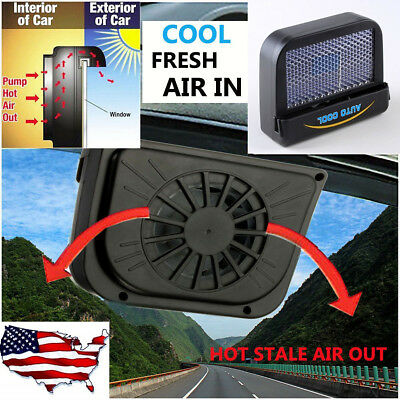 Solar Power Car Window Auto Air Ventilator Vent Cooler Fan Radiator Vehicle