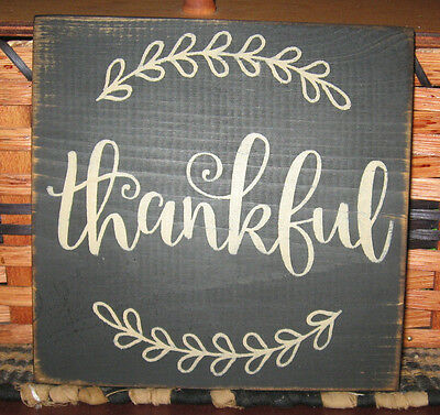 Primitive  Country Thankful Sm Sq Sign