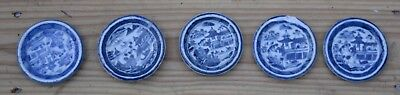Lot of 5 Period Canton Small Butter Pats Plate 19th Century Antique
