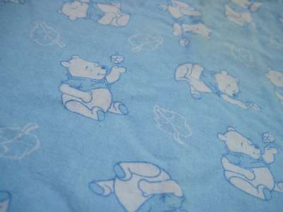 Light Blue Winnie the Pooh with Leaf Baby Blanket Plaid Reverse Stained Preowned