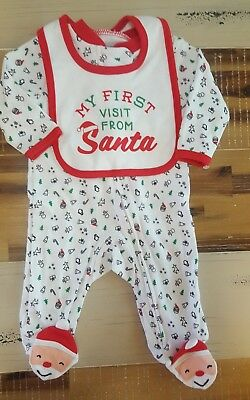 New without tag, Carter's 3 month Christmas Santa sleeper pajamas with bib