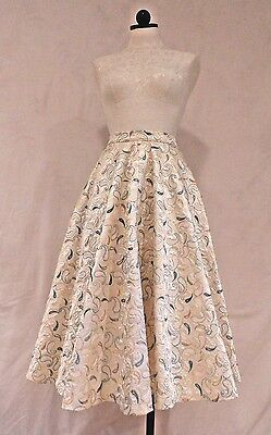 "Vtg 50s 3/4 Circle PAISLEY QUILTED SATIN EVENING SKIRT Sz 10 Waist 24.5"" Elegant"
