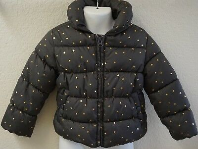 CRAZY 8 Toddler Girls Brown Gold Stars Puffer Winter Coat Jacket Sz. 2T Used